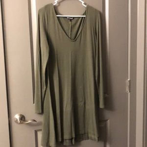 Express Army Green Long sleeve T-shirt Dress